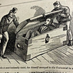 Mr. Muffin, who is constitutionally timid, has himself conveyed to the Centennial in a trunk.