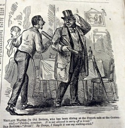 "Vigilant Waiter (to Old Bottom, who has been dining at the French café at the centennial) – ""Pardon, monsieur. It is not allowed to carry off ze bread."" Old Bottom – ""Bread! By George, I thought it was my walking-stick."""