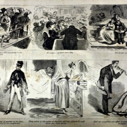 Getting on board the steamers. – The jam going to the Centennial. At supper – A little more jam. The bridal chamber. Mr. Perkins receives an application of powder to his face, without heightening the delicacy of his complexion. They retire in the midst of discords, and are obliged to stuff their ears with cotton. And are compelled ever after to converse by means of speaking trumpets.