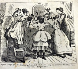 A gross outrage upon the feminine patrons of the Centennial – only one mirror in the ladies' reception-room. Did you ever!